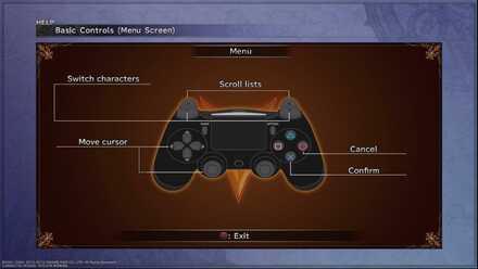 Basic Controls Menu Screen