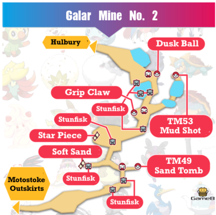 Galar Mine No. 2 Map and Obtainable Pokemon | Pokemon Sword ... on