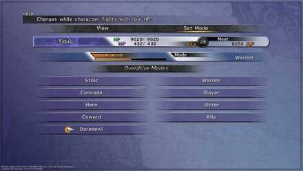 FFX How to change Overdrive Mode