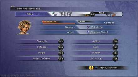 Final Fantasy X Max stat Tidus