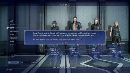 Noctis equip page_Chapter 1_Final Fantasy 15 walkthrough