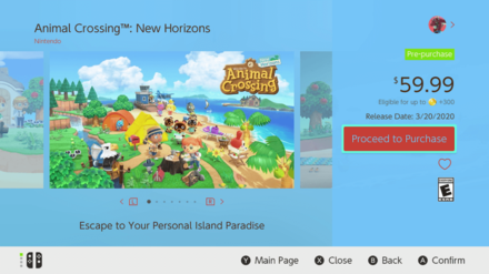 Animal Crossing Purchase Screen