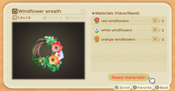 animal crossing flowers chart windflower