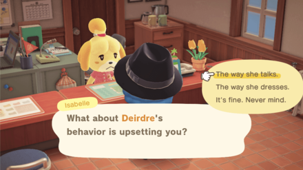 Discussing a Villager with Isabelle