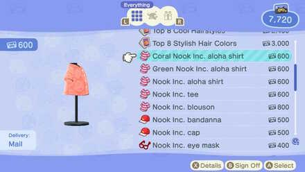 ACNH - Nook Inc. Coral Aloha Shirt DLC