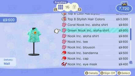 ACNH - Nook Inc. Green Aloha Shirt DLC