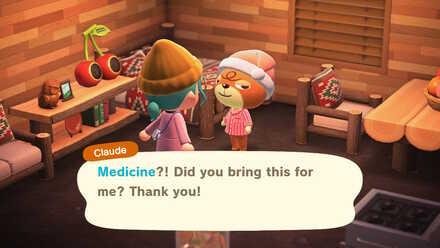 Giving medicine to a sick villager.jpg