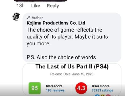 Kojima Facebook- Reply