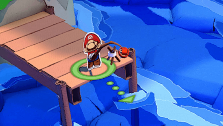 Paper Mario - Aim with the Green arrow when fishing.png