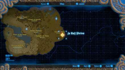 BotW - Ja Baij Shrine on the Map