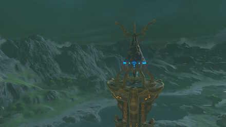 The Legend of Zelda Breath of the Wild (BotW) Activating Dueling Peaks Tower.jpg