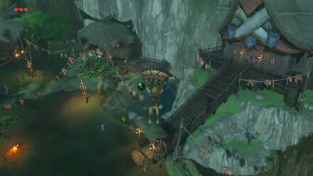 The Legend of Zelda Breath of the Wild (BotW) Descending to Kakariko Village.jpg