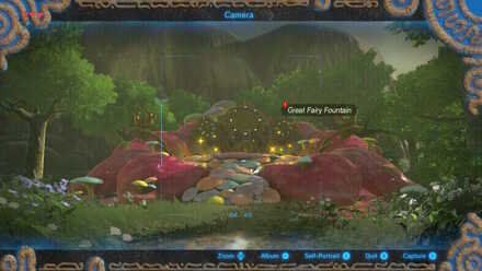 The Legend of Zelda Breath of the Wild (BotW) Taking a Photo of the Fairy Fountain.jpg