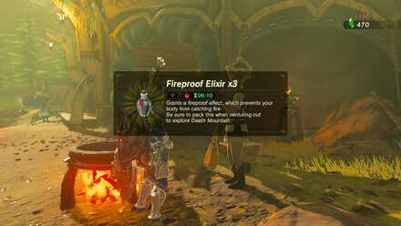 The Legend of Zelda Breath of the Wild (BotW) Purchasing Fireproof Elixirs