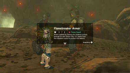 The Legend of Zelda Breath of the Wild (BotW) Receiving Flamebreaker Armor.jpg