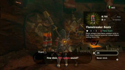The Legend of Zelda Breath of the Wild (BotW) Buying Flamebreaker Boots.jpg