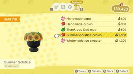 Animal Crossing New Horizons (ACNH) Nook Shopping Seasonal Items