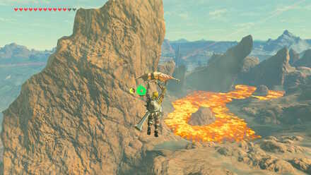 The Legend of Zelda Breath of the Wild (BotW) Gliding to Eldin Canayon.jpg