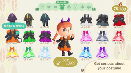 ACNH - Halloween Update - New Costumes at Able Sisters