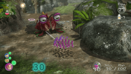 Make the winged pikmin charge at the Bug-Eyed Crawmad.png