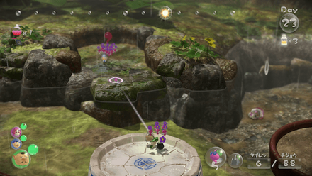 Throw an ally and 5 winged pikmin across the water.png