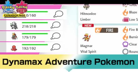 Pokemon - Crown Tundra - List of Dynamax Adventure Pokemon