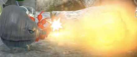 Red Pikmin Fighting Fiery Blowhog