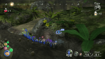 Split your group into blue pikmin and rock pikmin