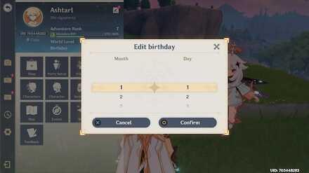 Genshin - Set your Birthday