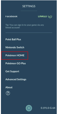 In the Settings -  Select Pokemon HOME.png