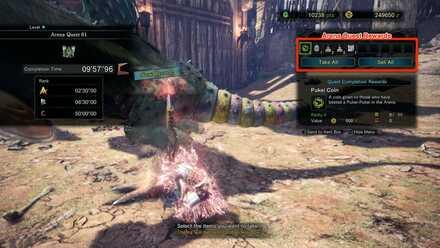 Arena Quest Reward Screen