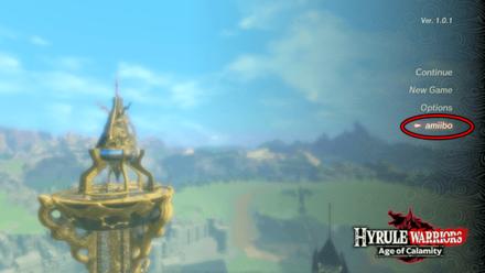Hyrule Warriors: Age of Calamity - Amiibo on Title Screen