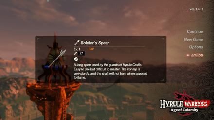 Hyrule Warriors: Age of Calamity - Soldiers Spear from Amiibo