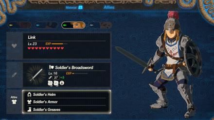 Hyrule Warriors: Age of Calamity - Allies Menu