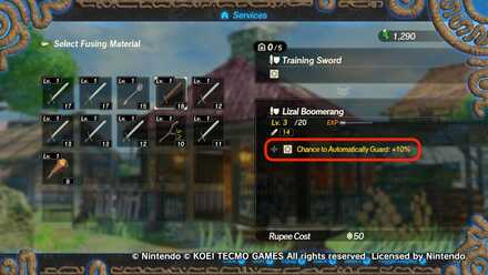Training Sword as Fusion Material