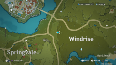 Genshin - Windswept Wilderness  Viewpoint Map