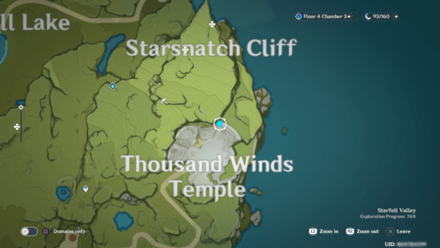 Genshin - Ancient Thousand Winds Temple  Viewpoint Map
