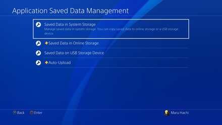 PS4 - Select Saved Data in System Storage