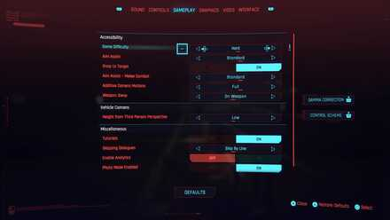 Cyberpunk 2077 - Difficulty Settings