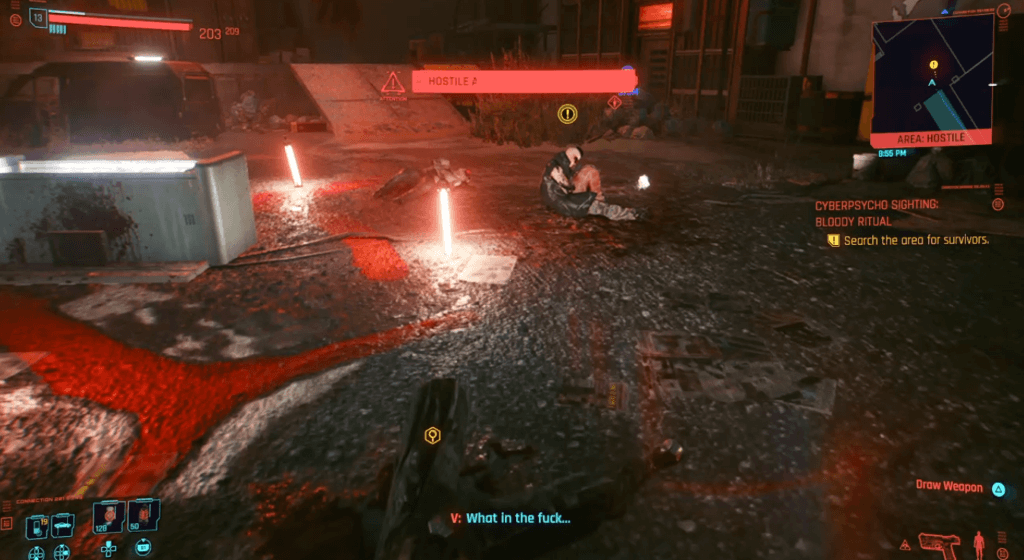 Cyberpunk 2077 Cyberpsychosis Sighting - Bloody Ritual 01.png