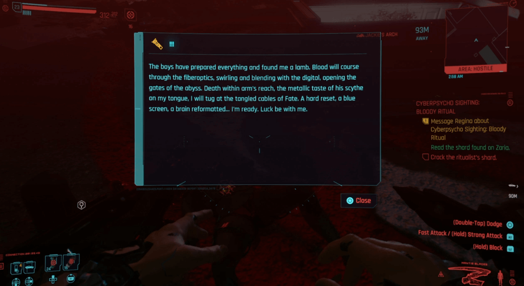 Cyberpunk 2077 Cyberpsychosis Sighting - Bloody Ritual 03.png