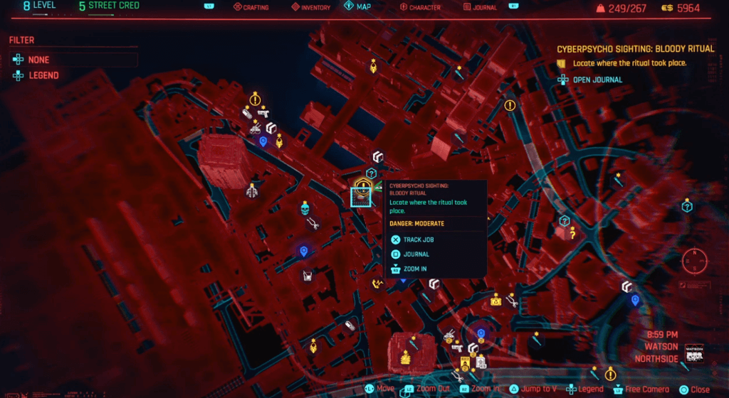 Cyberpunk 2077 Cyberpsychosis Sighting Bloody Ritual Map.png