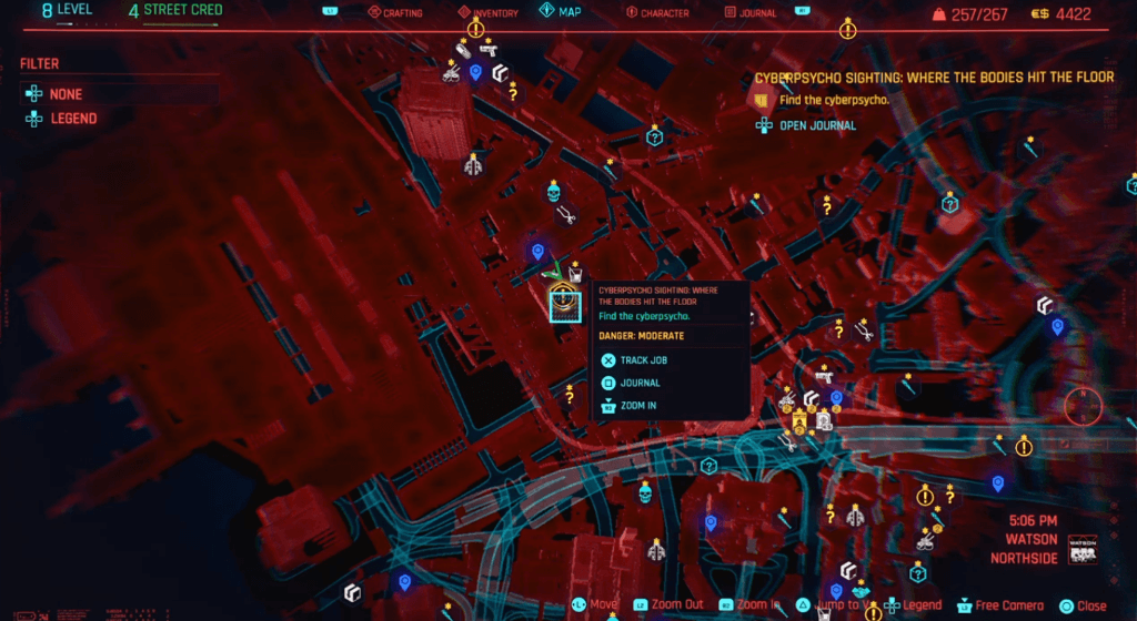 Cyberpunk 2077 Cyberpsychosis Sighting Where The Bodies Hit The Floor Map.png