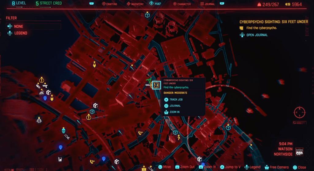 Cyberpunk 2077 Cyberpsychosis Sighting Six Feet Under Map.png