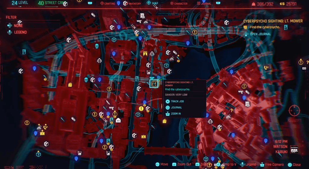 Cyberpunk 2077 Cyberpsychosis Sighting Lt. Mower Map.png