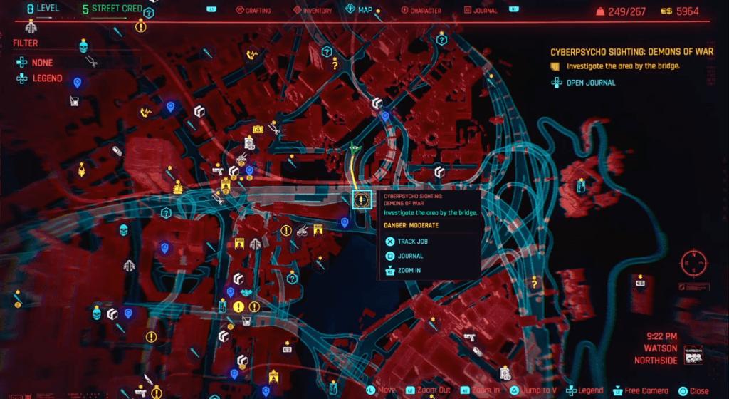 Cyberpunk 2077 Cyberpsychosis Sighting Demons of War Map.png