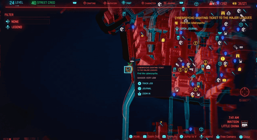 Cyberpunk 2077 Cyberpsychosis Sighting Ticket to the Major Leagues Map.png