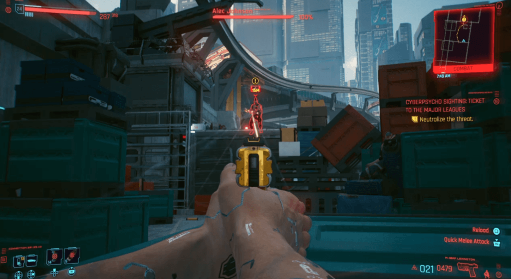 Cyberpunk 2077 Cyberpsychosis Sighting Ticket to the Major Leagues 01.png