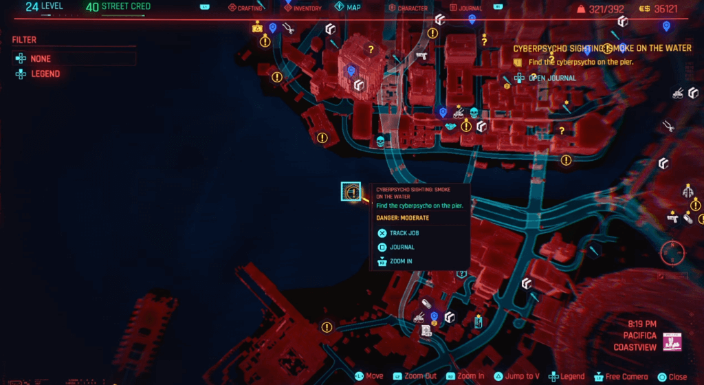 Cyberpunk 2077 Cyberpsycho Sighting Smoke in the Water Map.png