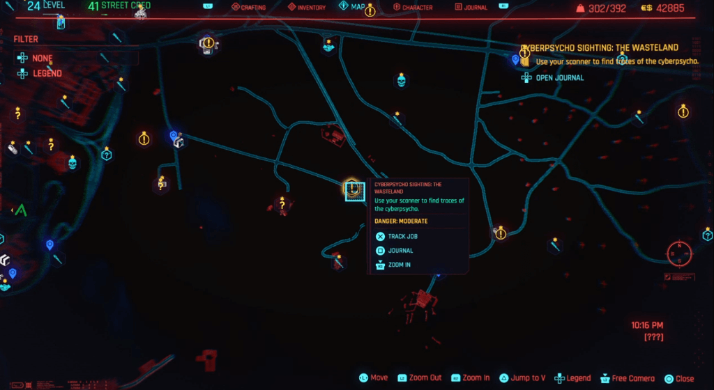 Cyberpunk 2077 Cyberpsycho Sighting The Wasteland Map.png